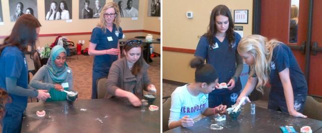 Dentistry students overseeing Ladder scholars making dental impressions